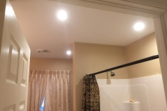 A few LED pot lights installed in a previously poorly lit bathroom in Sackville.